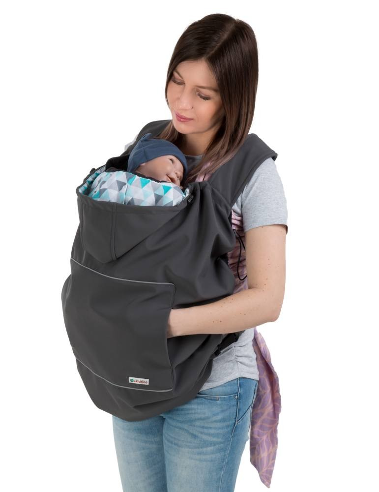 Naturiou Babywearing Softshell Cover Graphite Hood with Blue Print