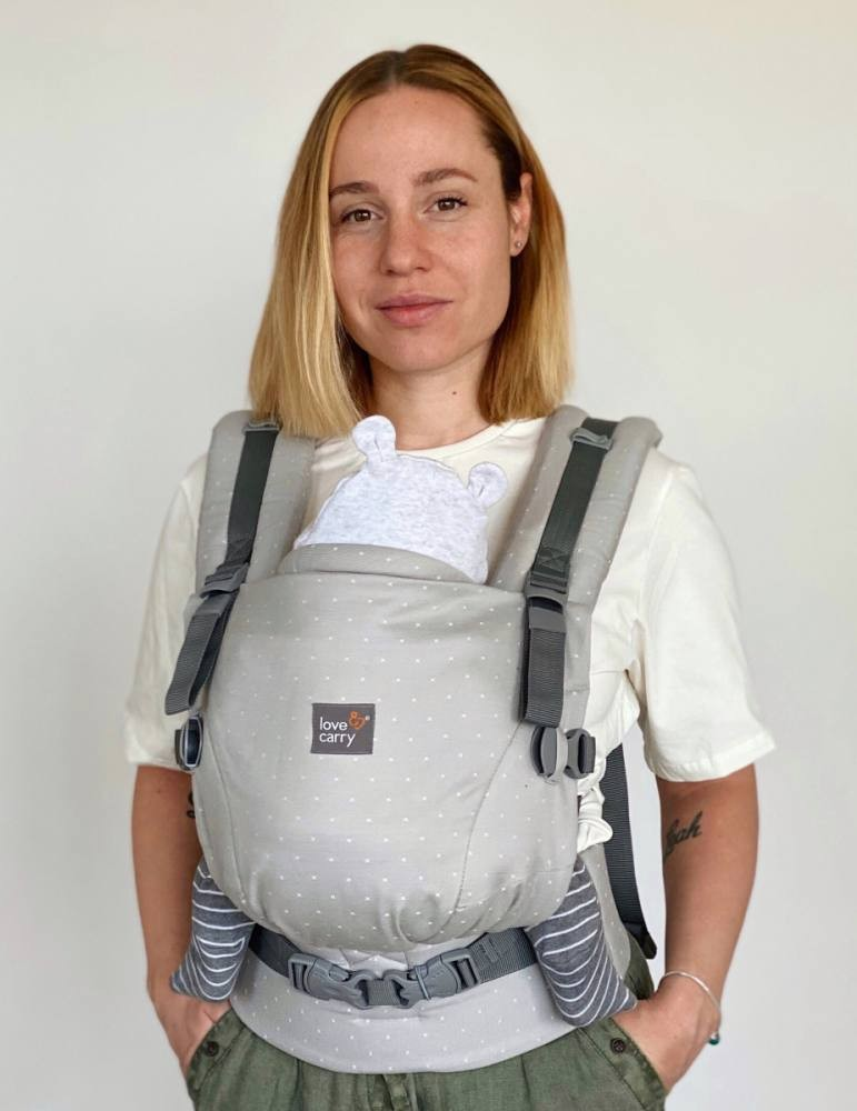 Love & Carry ONE+ Organic Newborn Baby Carrier Fog