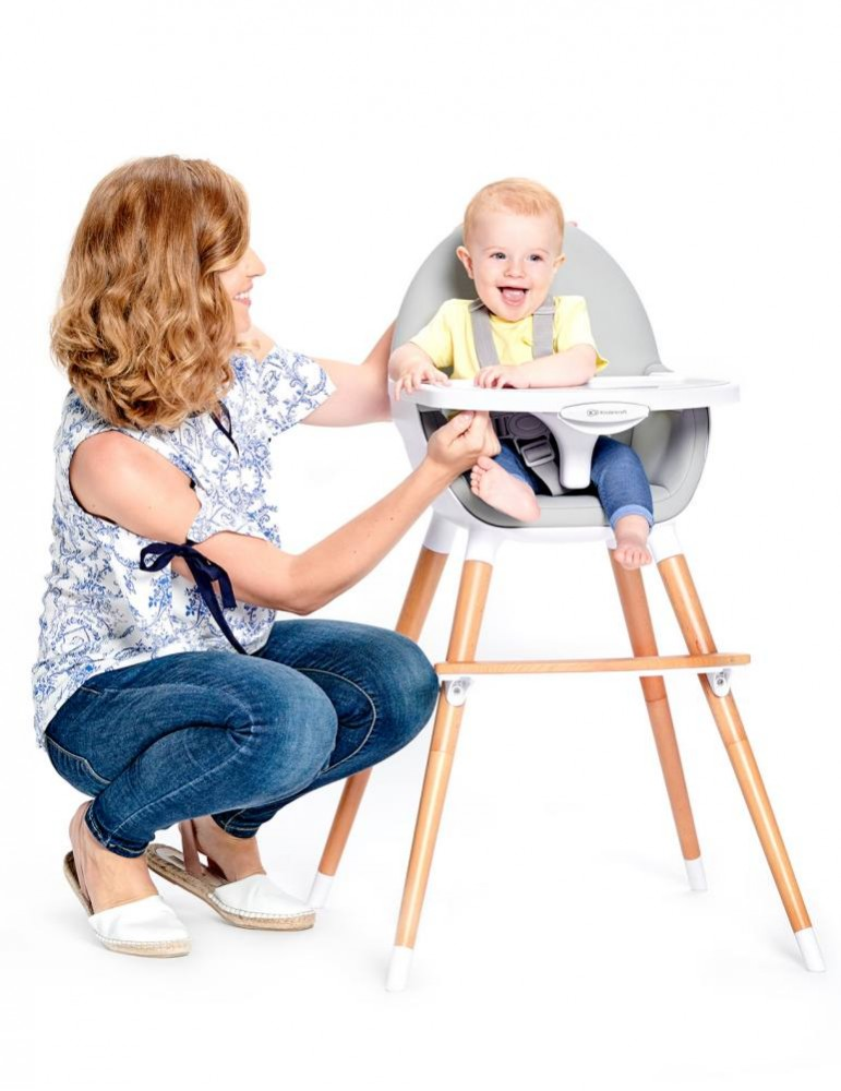 KinderKraft Fini 2-in-1 Baby Feeding High Chair and Low Toddler's Chair - grey