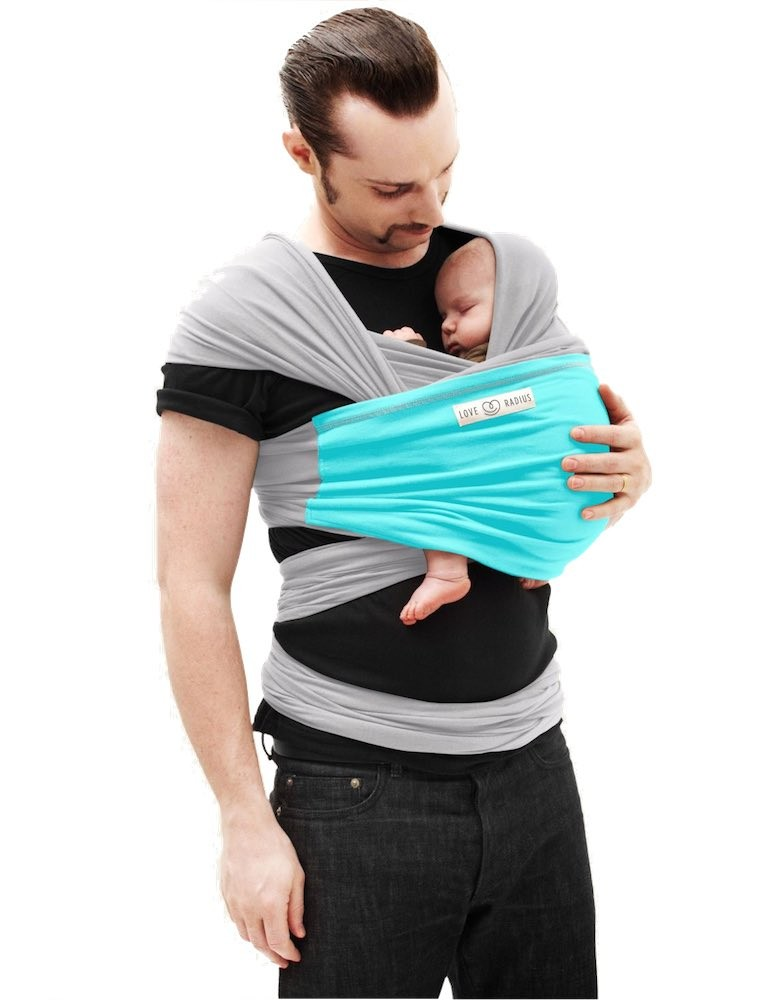 "The ""JPMBB Original"" Baby Wrap LIGHT GREY, Turquoise"