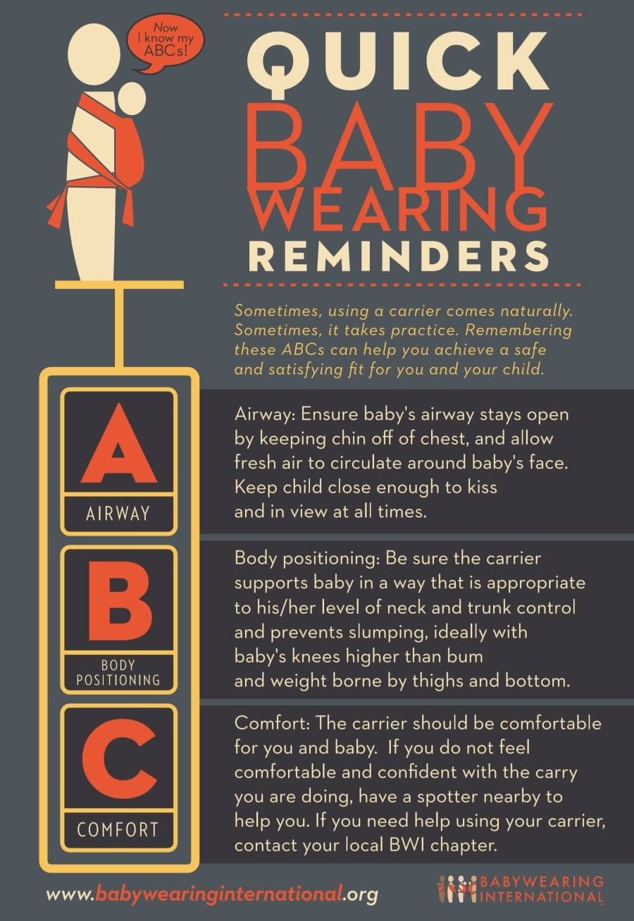 quick babywearing reminders ABC by the Babywearing International