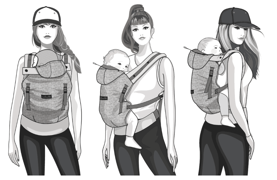 Love Radius Hoodie Baby Carrier Ergonomic Positions