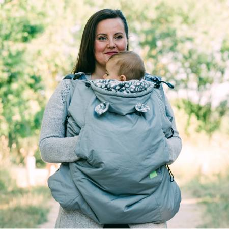 Lucky Babywearing Cover 3 in 1 Grey front carry