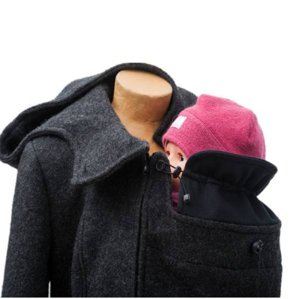 Mamalila babywearing coat with wind protector for baby's neck.