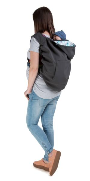 Naturiou Babywearing Softshell Cover  Graphite Hood with Blue Print Back Carry