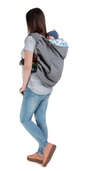 Naturiou Babywearing Softshell Cover  Silver Hood with Blue Print Back Carry