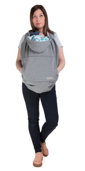 Naturiou Babywearing Softshell Cover  Silver Hood with Blue Print Front Carry